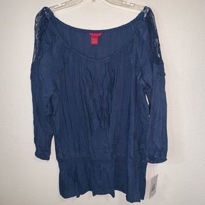 Sunny Leigh Chambray Ruffle Blouse Lace Detail NWT